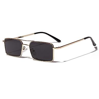 Amazon.com: Gafas de sol rectangulares doradas para hombre ...