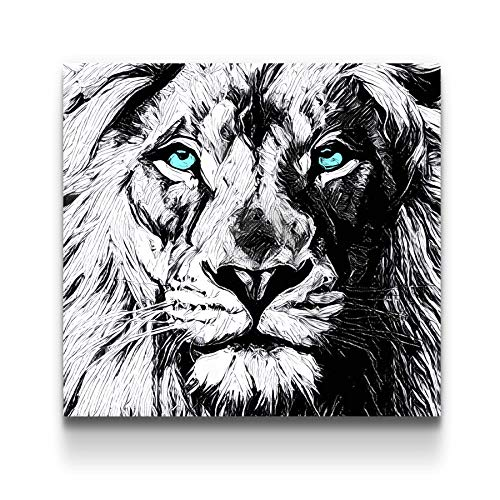 STARTONIGHT Canvas Wall Art Black and White Abstract Lion Draw Blue Eyes Animals Jungle, Framed Wall Art 32 by 32 Inches