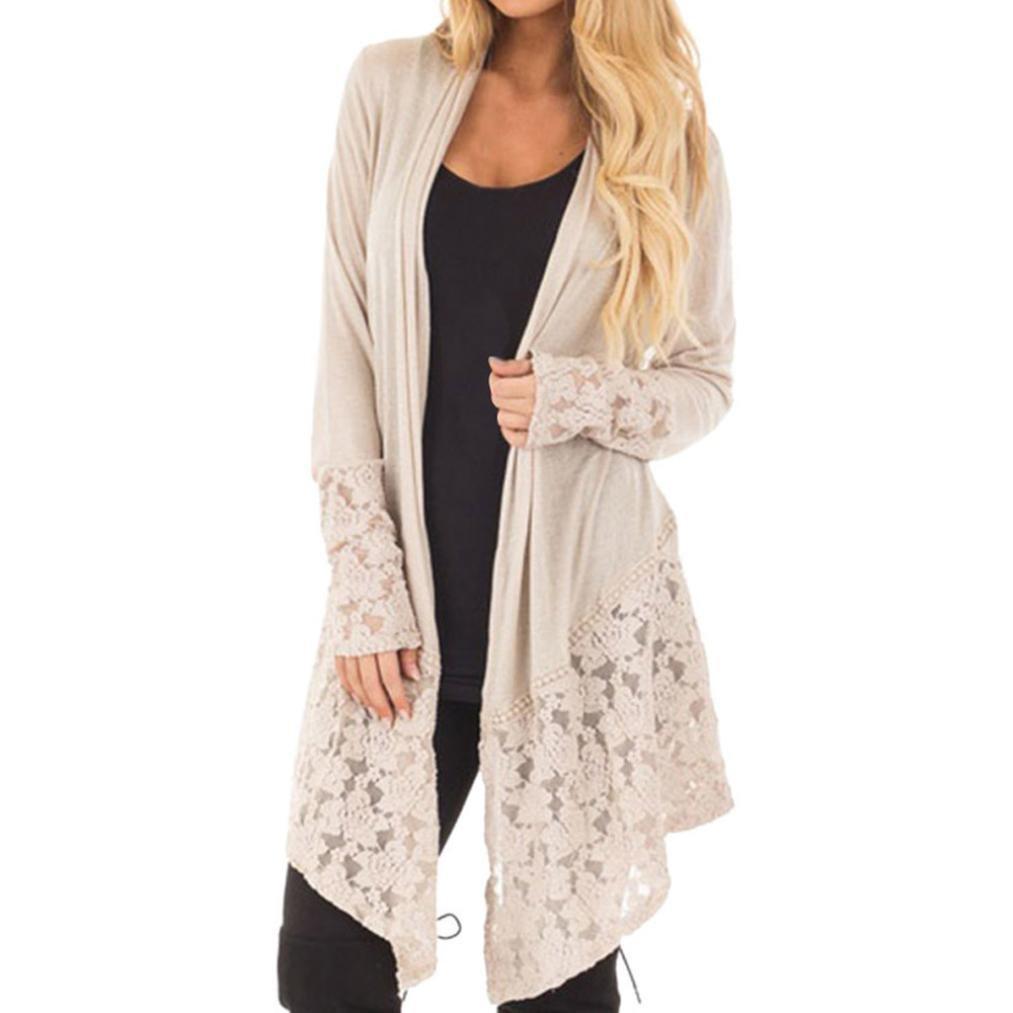 Clearance! Women's Lace Long Sleeve Cardigan Loose Solid Kimono Blouse Top (L, Khaki)