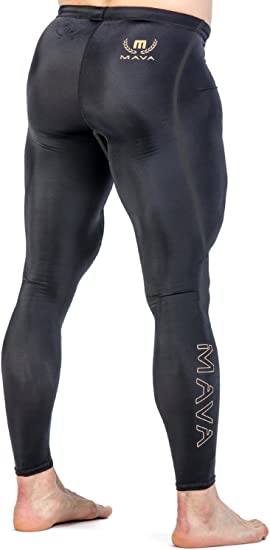 Mava Mens Compression Long Leggings - Base Layer Tights for Workouts & Sports