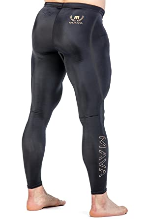 ca7e7ac3343b2 Mava Men s Compression Long Leggings - Base Layer Tights for Workouts    Sports