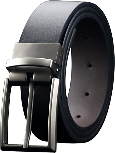 Men/'s Reversible Dress Belt Genuine Leather Belt with Rotated Buckle -1.3 Width Two Belts In One