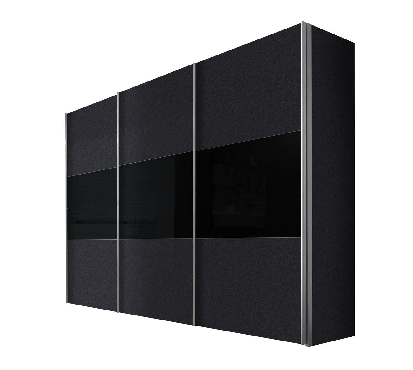 Solutions 46910-972 Schwebetürenschrank 3-türig, Griffleisten Alufarben, Korpus/Front: Graphit / Glas-schwarz