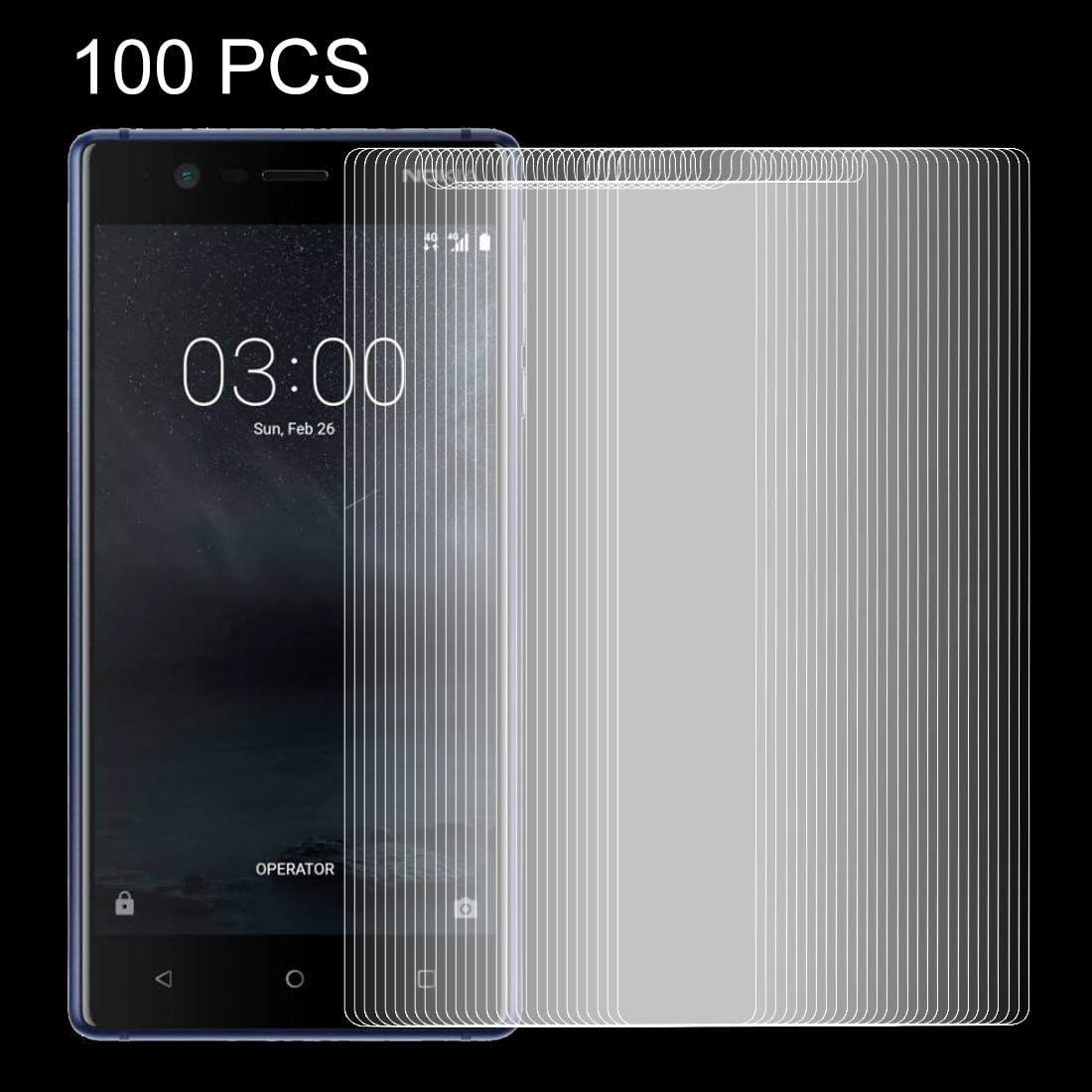 GUOSHU Premium Tempered Glass Screen Film 100 PCS for Nokia 3 0.26mm 9H Surface Hardness Explosion-Proof Non-Full Screen Tempered Glass Screen Film Anti-Scratch Screen Protector
