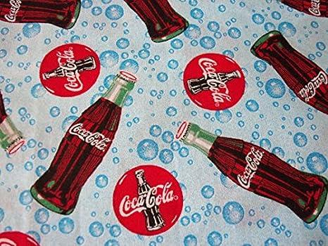 Coca Cola Fabric Blue Bottles Bubbles Rare HTF By The Fat Quarter BTFQ