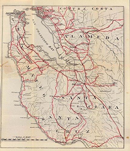 Historic Map | Guide Book, San Mateo, Santa Cruz, Santa Clara, Alameda, and Contra Costa Counties. 1896, | Antique Vintage Decor Poster Wall Art Reproduction | 20in x 16in ()