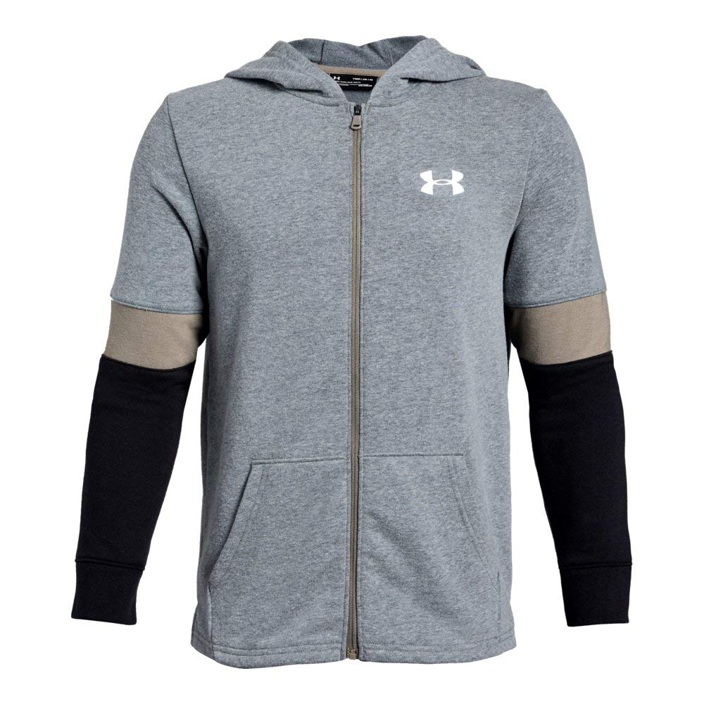 Under Armour Rival Terry Full Zip Sweat Shirt, Pitch Gray Light Heather//White, Youth X-Large