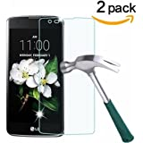 [2 Pack] LG K7 Screen Protector, NOKEA [Tempered Glass] with [9H Hardness] [Crystal Clear] [Easy Bubble-Free Installation] [Scratch Resist] (for LG K7)