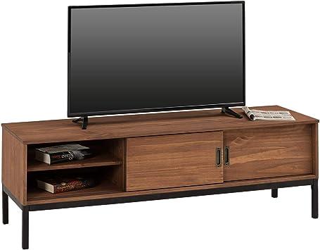 IDIMEX Mueble TV Selma Banco Televisión Estilo Industrial Design Vintage con 2 Puertas correderas y 3 Secciones con Estante, en Pino Maciza marrón Oscuro: Amazon.es: Hogar