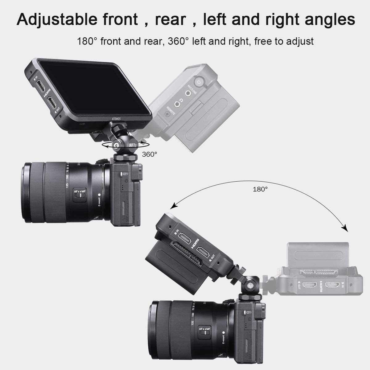 Camera Monitor Holder Adapter 180/° Upper Rotation 360/° for DSLR Mini Hot Shoe Stand Monitor Mount Microphone DSLR Field Monitor Video Light Flash Light Atomos