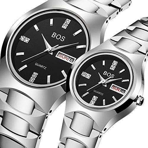 BOS Watch His and Hers Elegant Quartz Wrist Couple Watches for Lovers Metal Bracklet (Silver) by BOS
