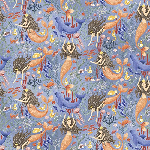 Jillson Roberts 6 Roll-Count Premium Gift Wrap Available in 19 Different Designs, Mermaids