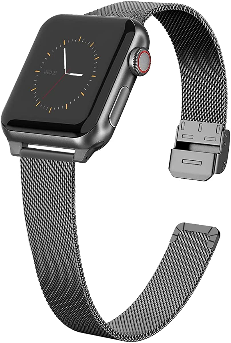 Slim Metal Watch Band Compatible with Apple Watch Band 38mm 40mm 42mm 44mm for Women Girls, Stainless Steel Mesh Strap Replacement for iWatch SE iwatch Series 6/5/4/3/2/1