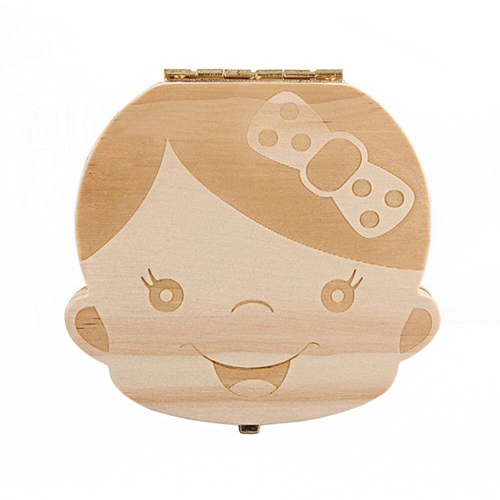 Anbaby Cute Personality Baby Teeth Box Save Wooden Boxes Deciduous Souvenir Box (Girl)
