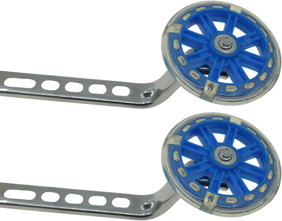 PengXiang 1 par de ruedas de apoyo para bicicleta infantil 12 14 16 18 20 pulgadas, color LED azul, tamaño 20 inches