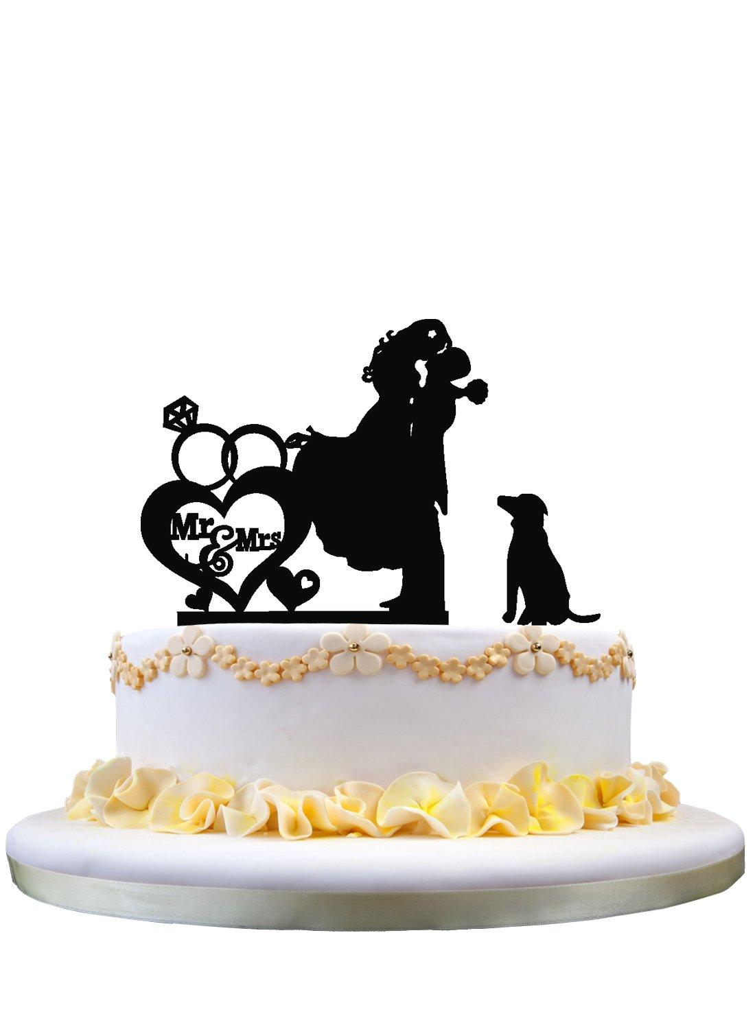 Couple Kissing Wedding Cake Topper with Dog Mr Mrs Bride and Groom zhongfei