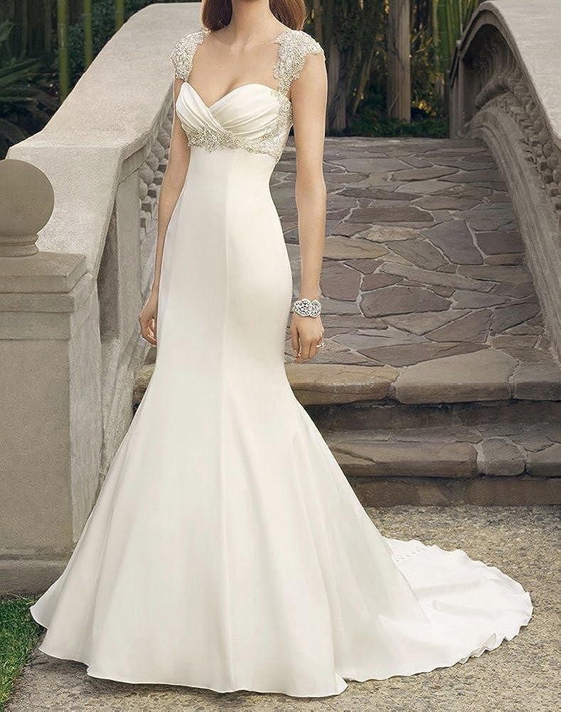 NINI.LADY Womens Sweetheart Sleeveless Beaded Lace Applique Mermaid Bridal Gown