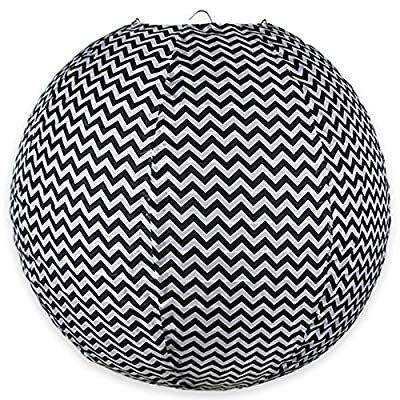 "Just Artifacts 12"" Round Faux Silk Hanging Chinese Lantern Decorative Lampshade (Black & White-Chevron Striped Pattern)"