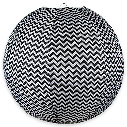 Just Artifacts 12' Round Faux Silk Hanging Chinese Lantern Decorative Lampshade (Black & White-Chevron Striped Pattern)