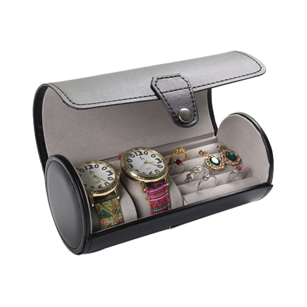 Aco&bebe House Travel Jewelry Box Organizer - Cylinder Watches & Rings & Sunglasses Holder Case (Watches/Rings Holder Black)