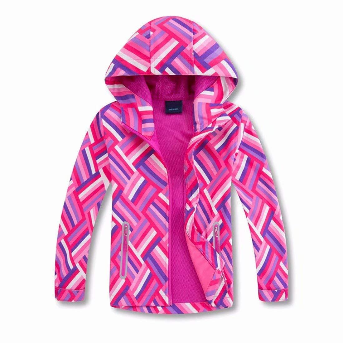 OLEK Girls Waterproof Rain Jackets Coats Outdoor Light Windproof Windbreaker Jacket with Hood by OLEK