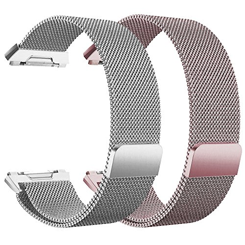 - hooroor Sport Loop Bands Compatible with Fit bit Ionic Smart Watch Small Large, Breathable Comfortable Adjustable Closure Wrist Replacement Wristbands Straps (2-Pack Silver+Rose Pink, Large)