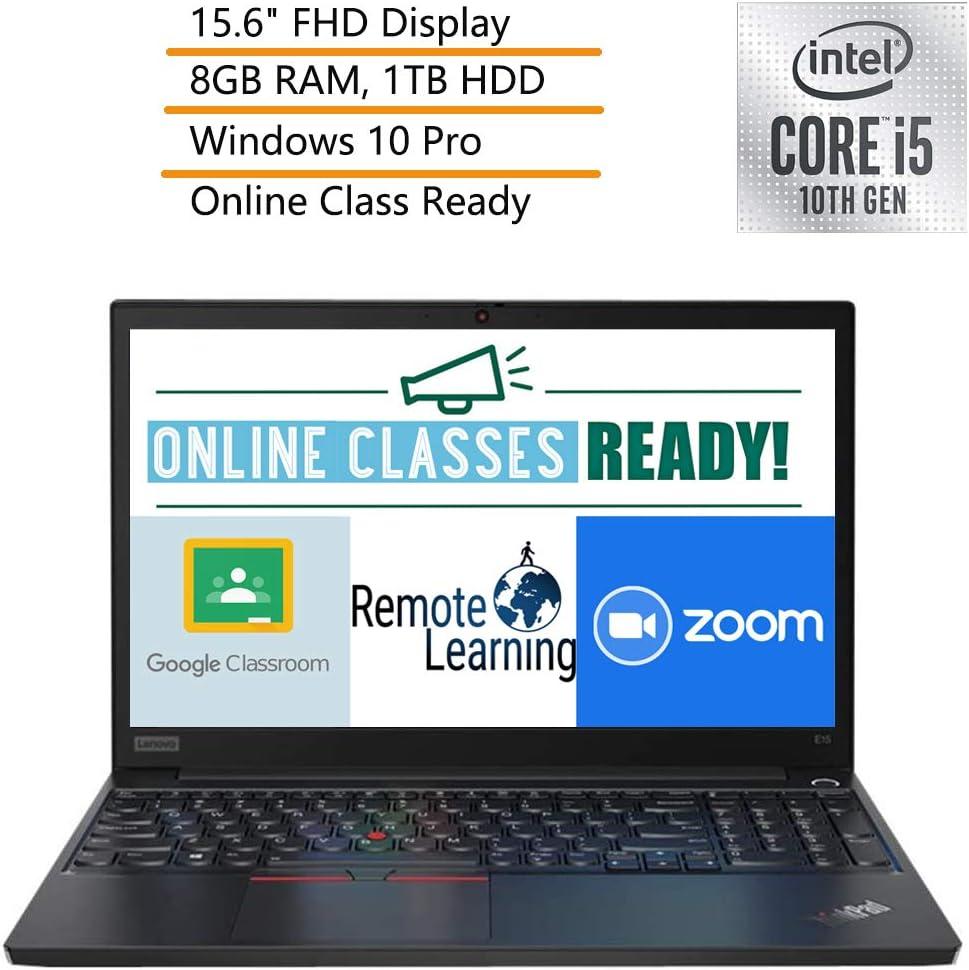 "2020 Lenovo ThinkPad E15 15.6"" FHD Business Laptop Computer, 10th Gen Intel Quad-Core i5-10210U, 8GB DDR4 RAM, 1TB HDD, Windows 10 Pro, iPuzzle DVD Extension, Webcam, Microphone, Online Class Ready"
