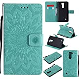 LG Stylus 2 Case, LG G Stylo 2 LS775 Case,LG Stylo 2 Plus Case,SMYTU Premium Emboss Sunflower Flip Wallet Shell PU Leather Magnetic Cover Skin with Wrist Strap Case (Green)