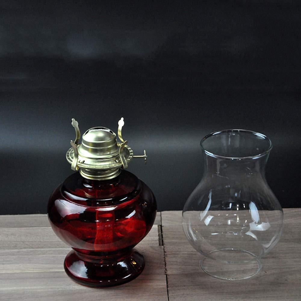 Color : Red 700ml Large Oil Pot Large Capacity Glass Kerosene Lamp Candlestick Bright Light Festive Decoration Antique Nostalgic Oil Lamp Emergency Light