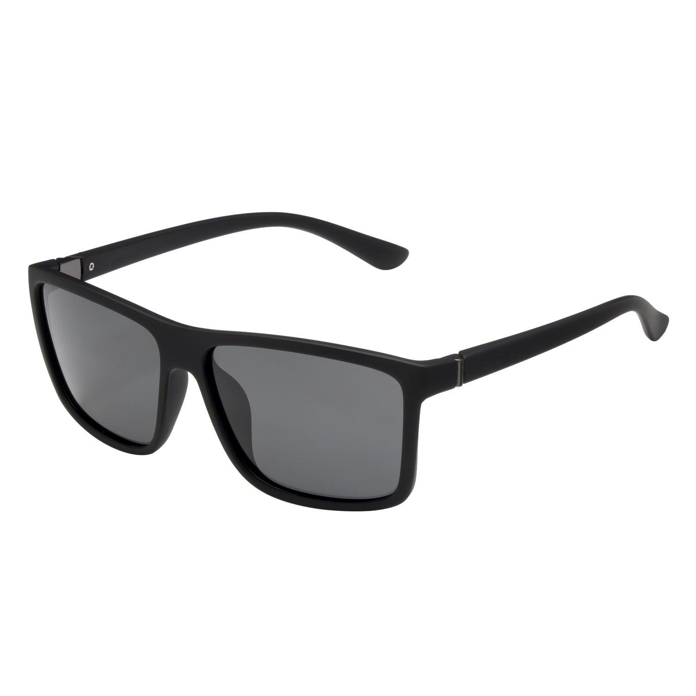 NIEEPA Men's Driving Sports Polarized Sunglasses Square Wayfarer Plastic Frame Glasses (Grey Lens/Black Frame) by NIEEPA