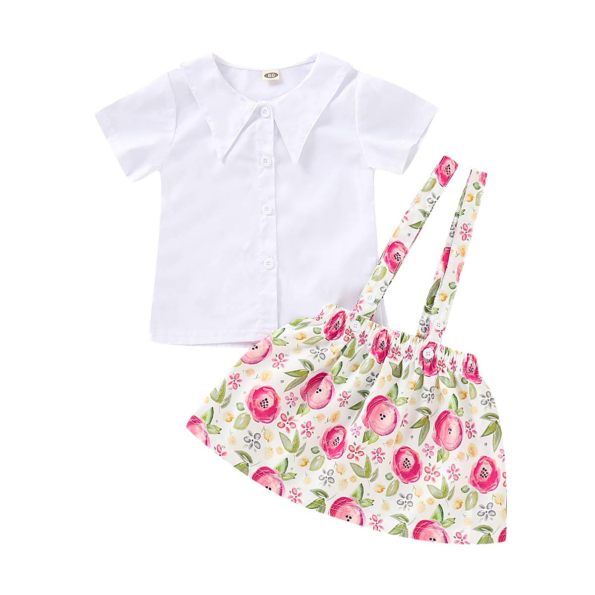 Toddler Kids Baby Girls White Top Short Sleeve T-Shirt Floral Skirt 2PCS Overalls Strap Dress Clothes Set