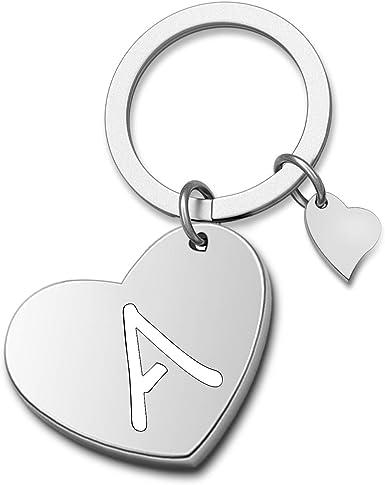 HOLLP Initial Disc Charm Keychain 26 Initial Letter Alphabet Keychain A-Z Initial English Charm Keychain