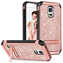 Galaxy S5 Case with Kickstand,GUAGUA Girls Women Glitter Bling Slim Fit Dual Layer Hybrid Hard PC Cover Soft Bumper Shockproof Protective Tough Phone Case for Samsung Galaxy S5 S V I9600 GS5,Rose Gold