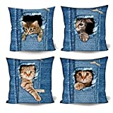 Coloranimal Cute Denim Pocket Cat Pattern Cushion Covers Home Hotel Decor Sofa Chair Living Room