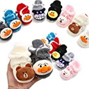 Isbasic Unisex Baby Fleece Lined Cozy Booties Non-Skid Toddler Slippers Infant Winter Warm Socks Shoes (0-6 Months, C-Light Grey)