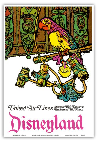 Disneyland - Walt Disney's Enchanted Tiki Room - José The Mexican Macaw - United Air Lines - Vintage Airline Travel Poster by Jebavy c.1968 - Master Art Print - 13in x 19in