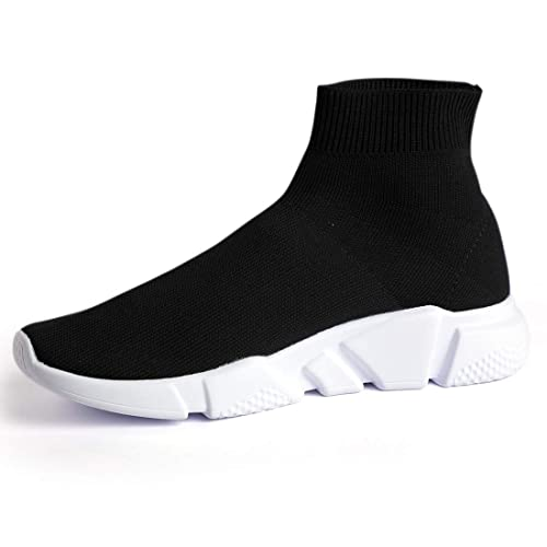 346e7eeb867dc4 Mr.SHOES 1836-BLACK WHITE HIGH-TOP Sock Speed Stretch Sneakers (7 ...