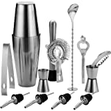 13 Piece Stainless Steel Boston Shaker Set, Including 20oz Unweighted & 27oz Weighted Professional Bartender Cocktail Shaker