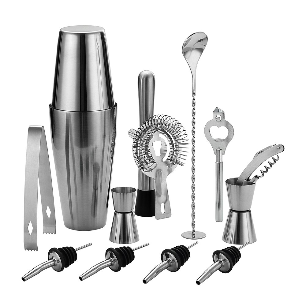 QLL 13 Piece Stainless Steel Boston Shaker Set, Including 20oz Unweighted & 27oz Weighted Professional Bartender Cocktail Shaker by QLL
