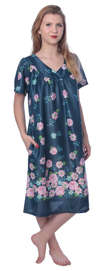 Beverly Rock Women's Short Sleeve Housecoat Floral Duster Nightgown Y18_XU9004 Navy 2X