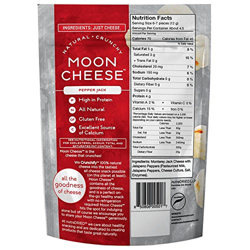 Moon Cheese, Pack of Twelve, Assortment (Cheddar, Gouda, Pepperjack, Mozzarella), 100% Cheese and Gluten Free, 2 OZ Bags by Moon Cheese (Image #2)