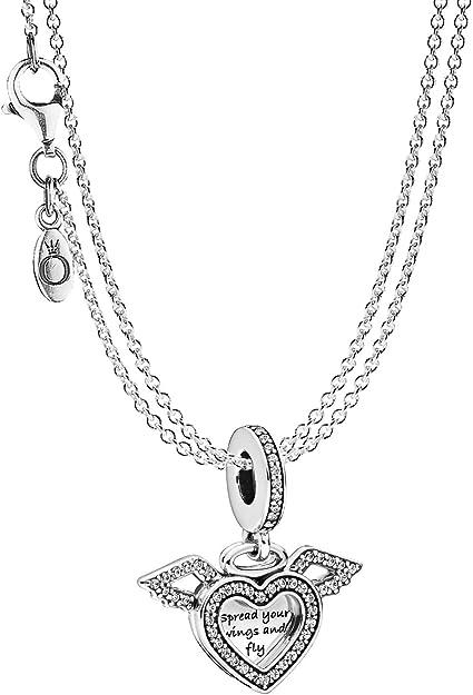 Pandora 75614 Pendentif cœur avec ailes d'ange et collier 2 rangées en  argent 925