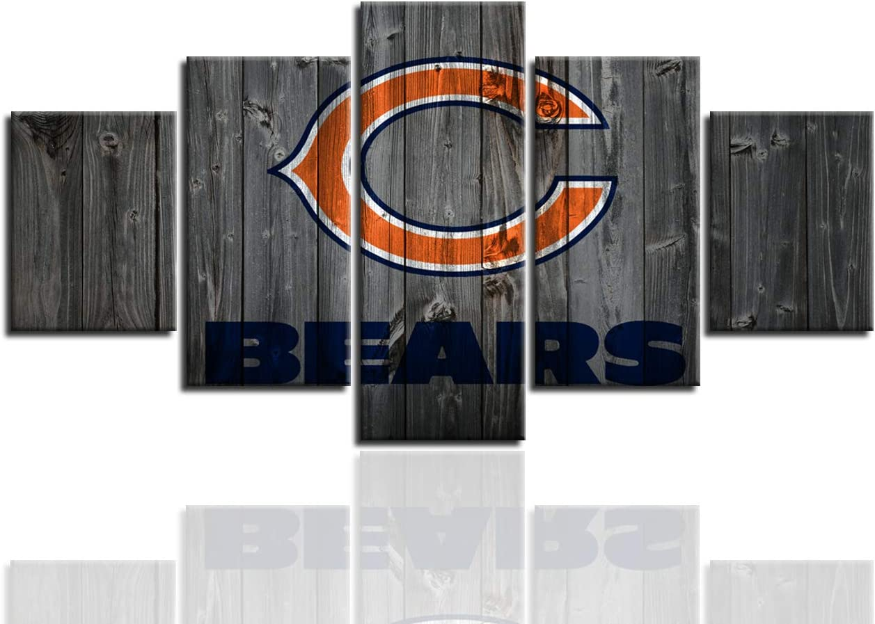 Chicago Bears Poster 5 Piece Football Sports Wall Art Painting Canvas Print Artwork Picture Home Decor With Frame Ready to Hang(60''Wx32''H)