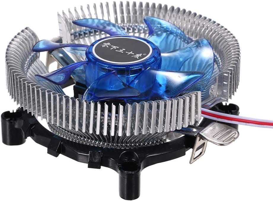 Walmeck Hydraulic CPU Cooler Heatpipe Fans Quiet Heatsink Radiator for Intel Core AMD Sempron Platform with Blue Light