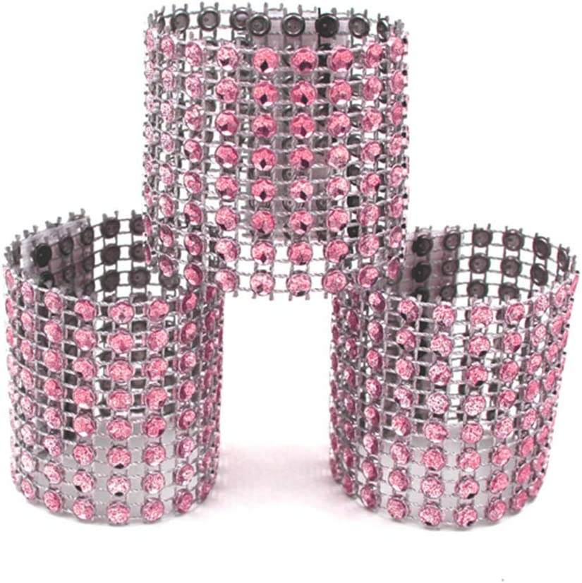 Plastic Mesh Rhinestone Diamond Napkin Buckle Bling Curtain Buckle Sparkling Bows for Table Decorations Wedding Reception DIY Dinner Party Chair Sash Tablecloth 100PCS Napkin Rings rose gold