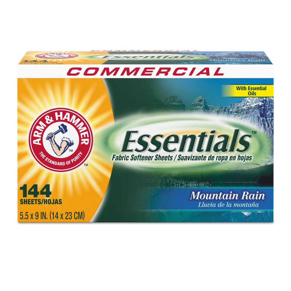 Arm & Hammer CDC 33200-14995 Essentials Dryer Sheets, Mountain Rain, 144 Sheets/box, 6 Boxes/carton by Arm & Hammer Household