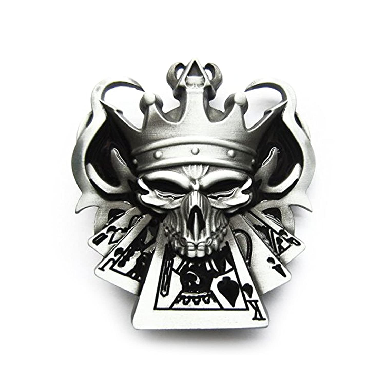 eeddoo® Gürtelschnalle - Skull King - Full House Poker Skull - Buckle (Buckle für Wechselgürtel für Damen und Herren | Belt Frauen Männer Oldschool Rockabilly Metall Gambling Casino Rock Biker Western