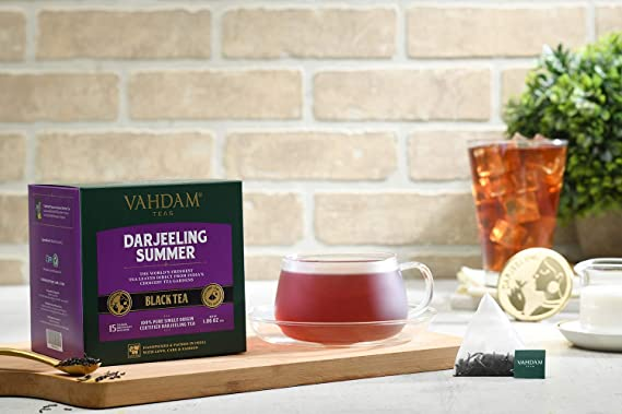... (30 bolsitas de té) | Cafeína Media, Té de Alta Energía | Bolsas de té Darjeeling sin mezclar puras, 100% certificadas, de India | Té Caliente, Helado ...
