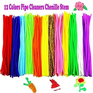 Pipe Cleaners, 240 PCS Assorted Chenille Stem for Arts and Crafts, 6mm X 12 Inch, 12 Colors by Outee