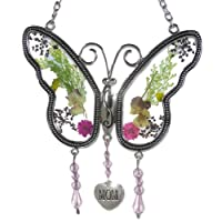 Butterfly Suncatcher with Pressed Flower Wings Embedded in Stained Glass with Metal Trim Engraved Hanging Heart Chain for Hanging on the Window or in a Garden Perfect Gift for Grandparents Day 8 Inch